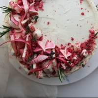 Rhubarb, White Chocolate and Thyme Cake