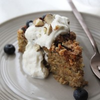 Peach and Blueberry Hazelnut Crumble Cake