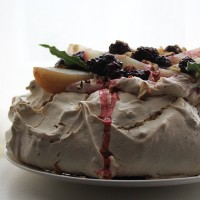 Hazelnut, Blackberry, Bay and Pear Pavlova