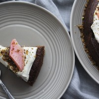 Rhubarb and Ginger Cake with Cardamom Creme Fraiche