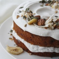 Banana, Rum & Raisin Cake with Coconut Icing (Vegan/ DF)