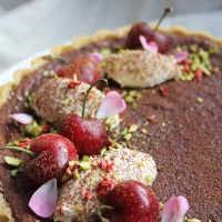 Cherry, Chocolate and Orange Blossom Tart with Cardamom Cream