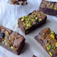 Spiced Pistachio and Sour Cherry Brownies