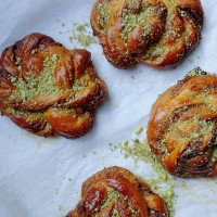 Cherry Molasses, Pistachio and White Chocolate Buns